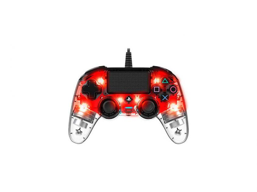 Controller Nacon Crystal Red Wired For PS4 (PS4OFCPADCLRED)