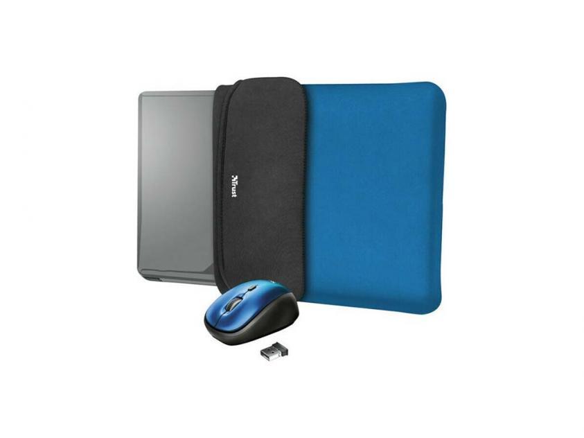 Laptop Case Trust 15.6-inch Yvo Reversible & Wireless Mouse Blue (23452)