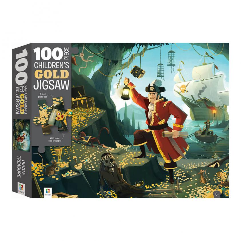 Jigsaw Touch & Feel Pirate Treasure Gold Foil 100P (9354537000868)