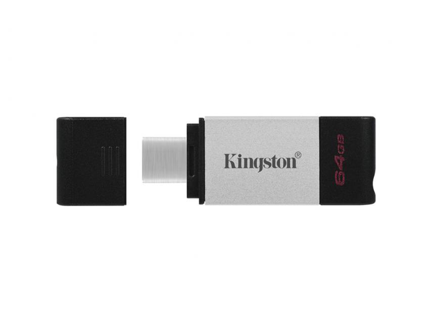 USB Flash Drive Kingston DataTraveler 80 64GB 3.2 Type-C Silver/Black (DT80/64GB)