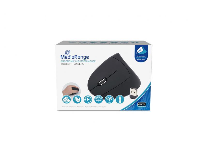 Mouse MediaRange Ergonomic 6-button Wireless Optical for left-handers (MROS233)