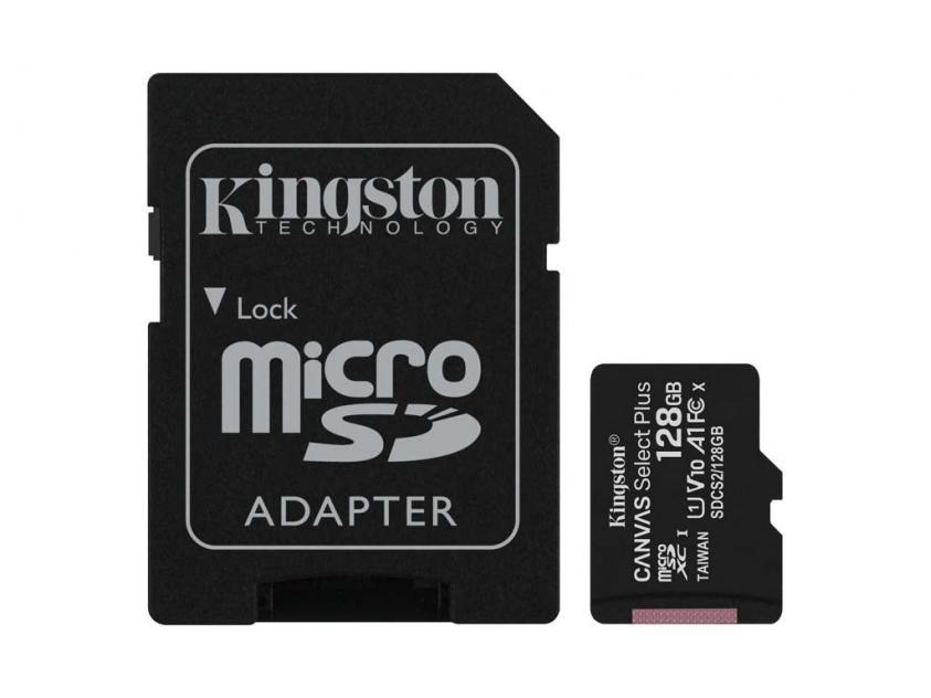 Memory Card Kingston Canvas Select Plus microSDXC 128GB + SD Adapter (SDCS2/128GB)