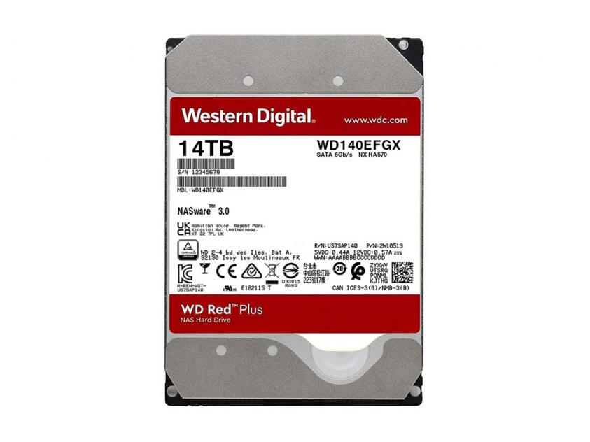 Internal HDD Western Digital Red Plus NAS 14TB SATA III 3.5-inch (WD140EFGX)