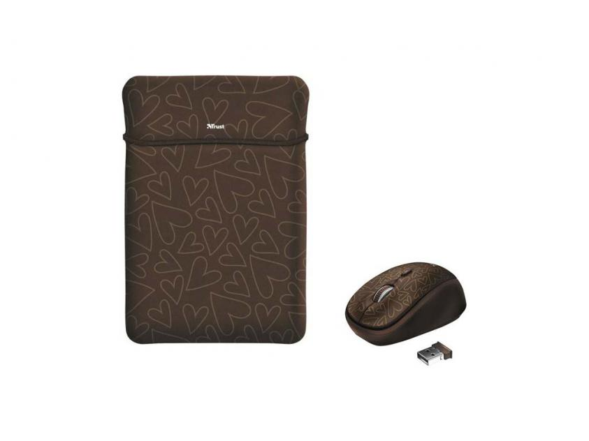 Laptop Case Trust 15.6-inch Yvo Reversible & Wireless Mouse Brown Hearts (23446)